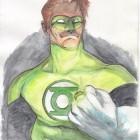 Green Lantern i akvarell och bläck