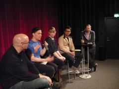 V - H: Chris Staros, Mats Jonsson, Shannon O'Leary, Bryan Lee O'Malley och Roger Wilson.