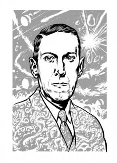 Stiligt Lovecraftporträtt signerat Kriek.