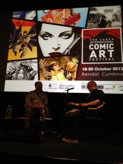 Ed Brubaker i samtal på Lakes International Comic Arts Festival som jag besökte med Anton Bjurvald och Freddie  Kaplan.