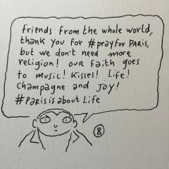 Joan Sfars fina uppmaning spreds på nätet efter attackerna i Paris 13/11 2015.